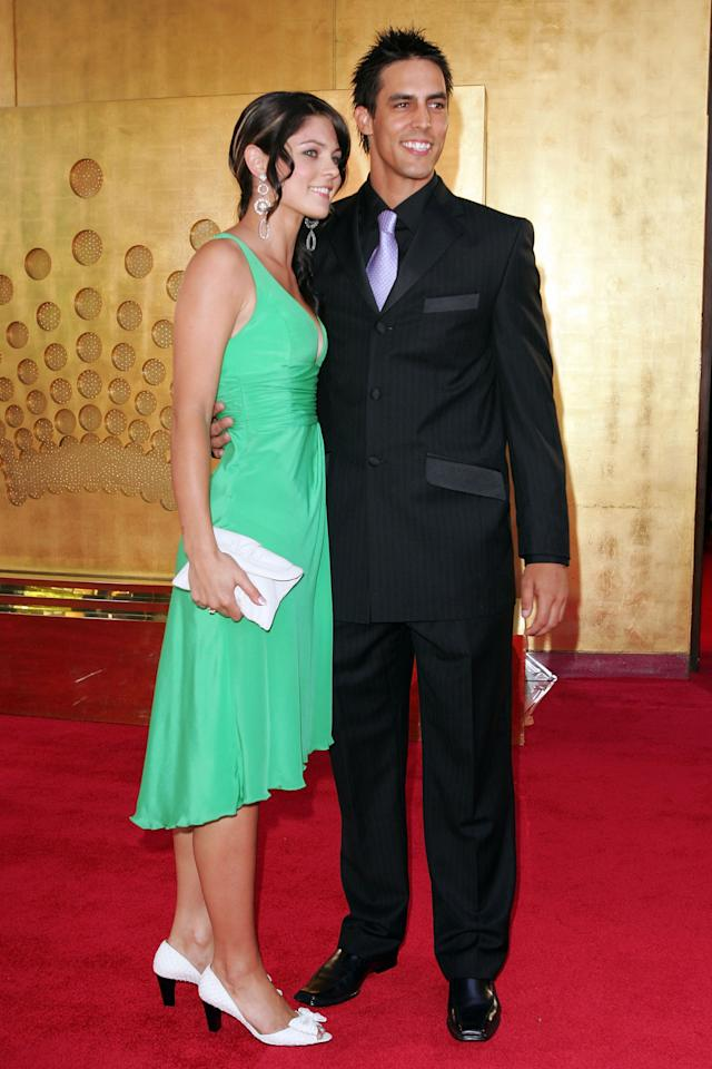 MELBOURNE, AUSTRALIA - FEBRUARY 05:  Cricketer Mitchell Johnson and partner Jessica Bratich arrive at the 2007 Allan Border Medal at Crown Casino on February 5, 2007 in Melbourne, Australia.  (Photo by Kristian Dowling/Getty Images)