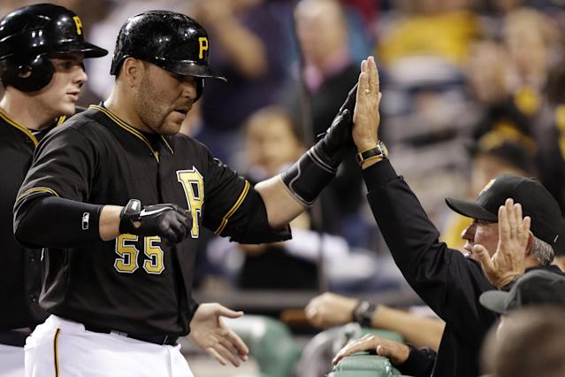 Pittsburgh Pirates' Russell Martin (55) celebrates with manager Clint Hurdle after hitting a two-run home run off Cincinnati Reds starting pitcher Homer Bailey (34) during the second inning of a baseball game in Pittsburgh Saturday, Sept. 21, 2013. (AP Photo/Gene J. Puskar)