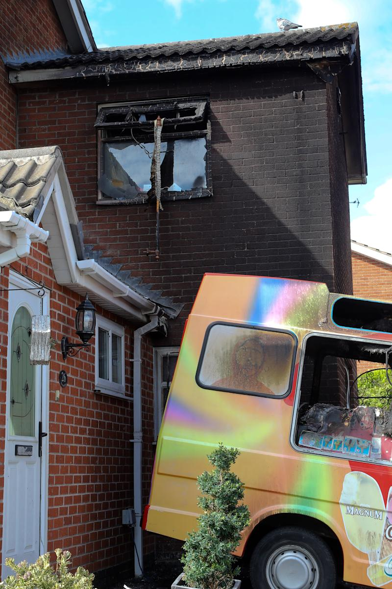 The charred remains of the house and ice cream van of Tony Delbusso (SWNS)