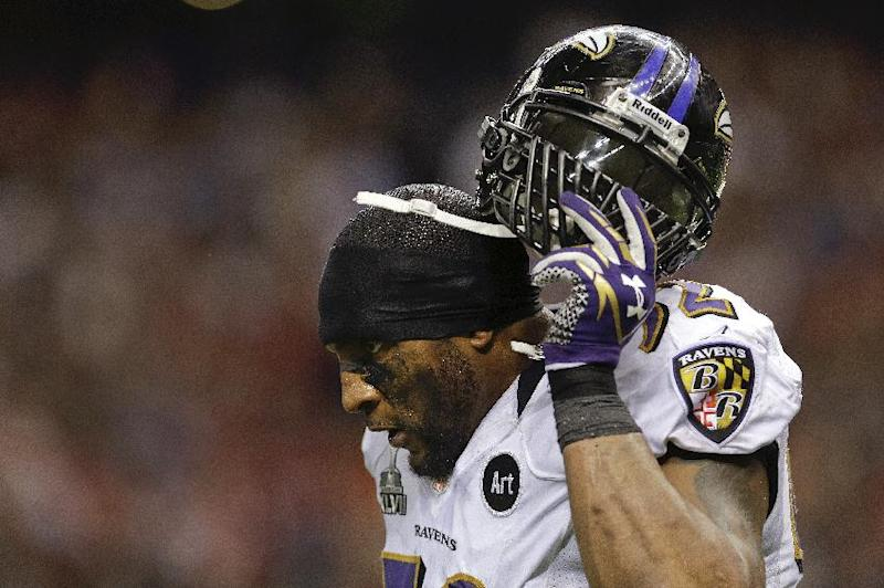 Baltimore Ravens linebacker Ray Lewis (52) walks off the field at the end of the first half of the NFL Super Bowl XLVII football game against the San Francisco 49ers, Sunday, Feb. 3, 2013, in New Orleans. (AP Photo/Patrick Semansky)