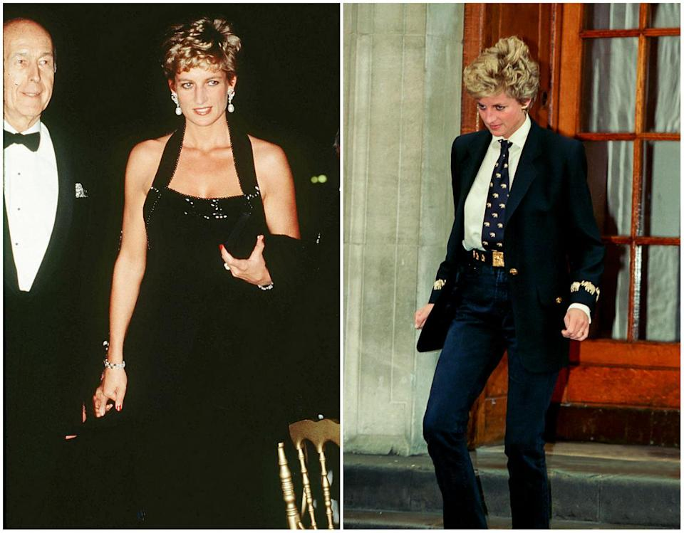 Diana also liked wearing tuxedo style outfits and she wore a lot of black. (<em>Photos: Getty)</em>