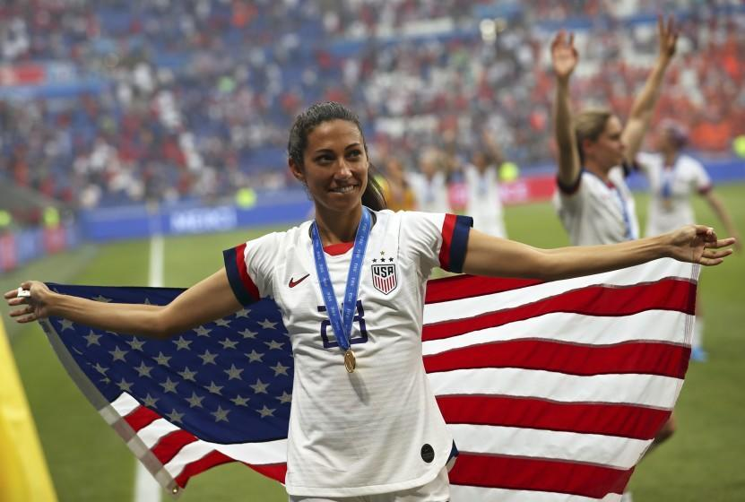 United States' Christen Press celebrates at the end of the Women's World Cup final soccer match between US and The Netherlands at the Stade de Lyon in Decines, outside Lyon, France, Sunday, July 7, 2019. The US defeated the Netherlands 2-0. (AP Photo/Francisco Seco)