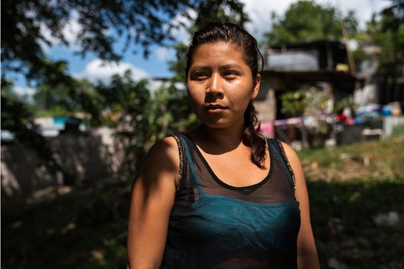 """Honduran migrant Norma Leticia López, 21, on Oct. 26, in front of the a migrant shelter near Palenque, Chiapas. She left her country four days before leaving behind two kids. Norma used to work at a bakery and says she did not make enough money to support her children; she says she could only afford rice and beans. """"I want for my kids to have a better life, an education,"""