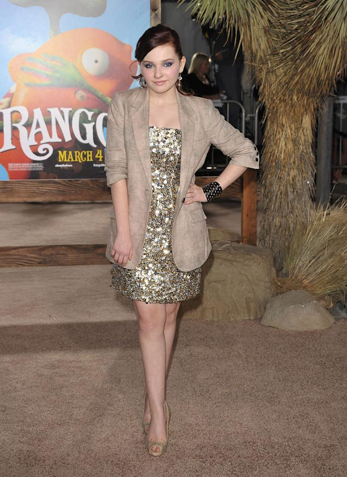 """<a href=""""http://movies.yahoo.com/movie/contributor/1807733519"""">Abigail Breslin</a> attends the Los Angeles premiere of <a href=""""http://movies.yahoo.com/movie/1810079248/info"""">Rango</a> on February 14, 2011."""