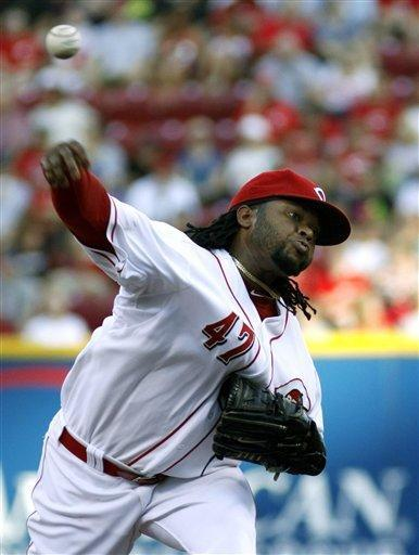 Cincinnati Reds' Jonny Cueto pitches against the Cleveland Indians in the second inning of an interleague baseball game in Cincinnati, Tuesday, June 12, 2012. AP Photo/Tom Uhlman)