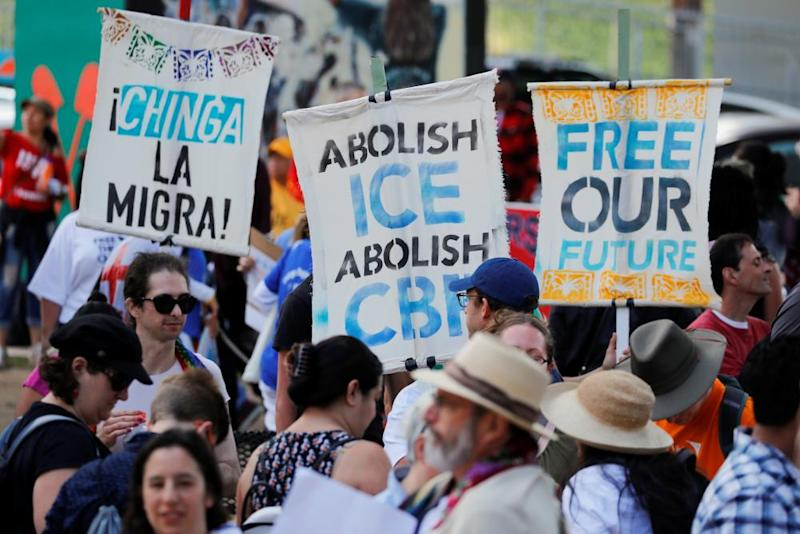 Demonstrators gather in San Diego, California.