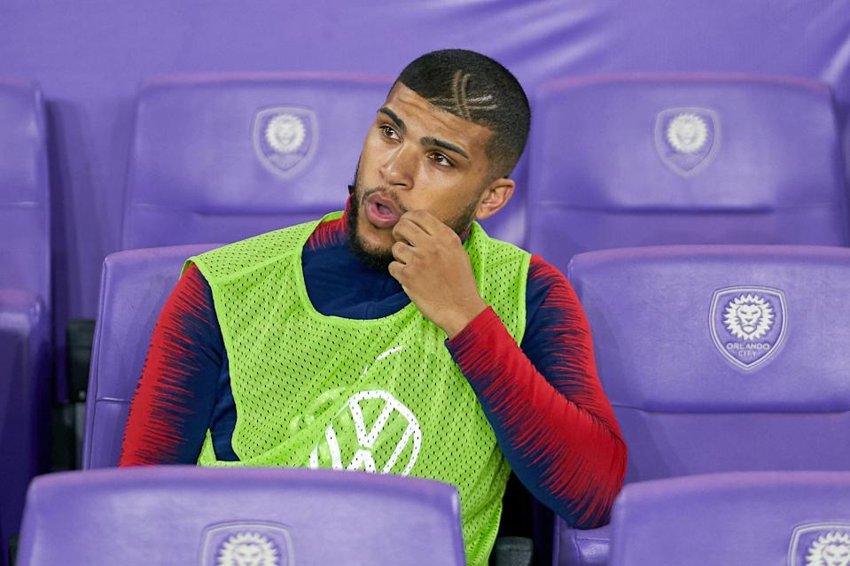 ORLANDO, FL - MARCH 21: United States defender DeAndre Yedlin (2) looks on from the bench area prior to game action during an International friendly match between the United States and Ecuador on March 21, 2019 at Orlando City Stadium in Orlando, FL. (Photo by Robin Alam/Icon Sportswire via Getty Images)