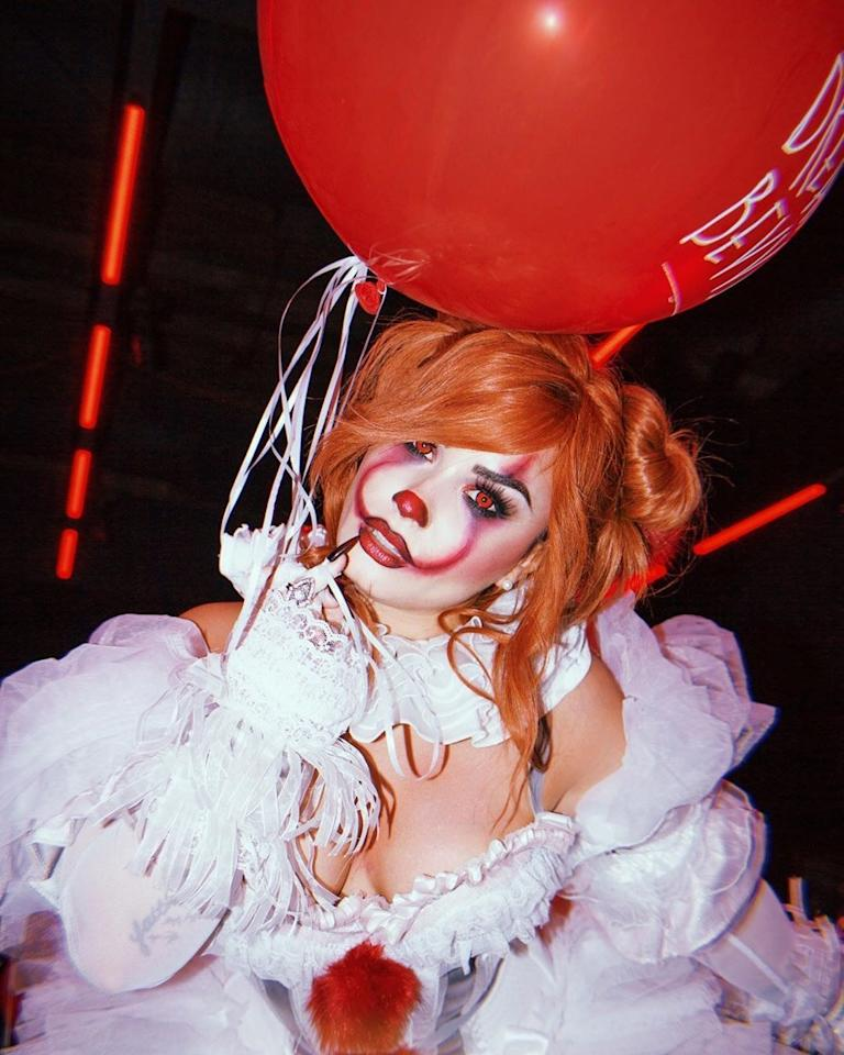 Demi Lovato dressed as Pennywise the clown at her fourth annual Halloween party in Los Angeles, California, October 2019.