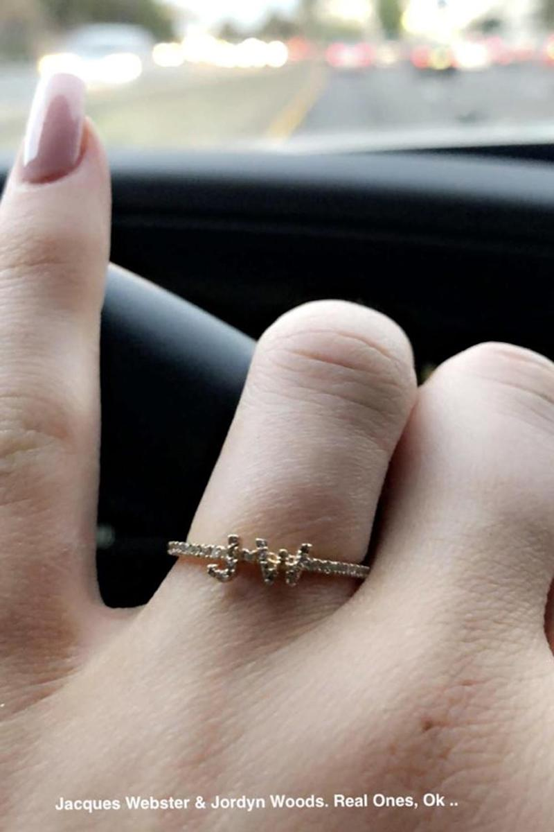 New ring: Kylie Jenner has JW emblazoned on her new bling (Snapchat / Kylie Jenner)