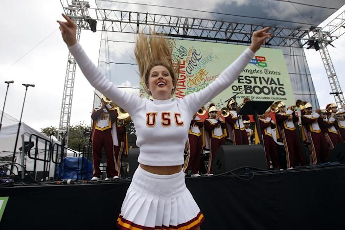 USC Song Girls perform during the kickoff of the Los Angeles Times Festival of Books in 2014