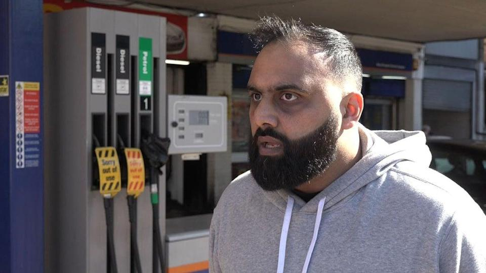 Yasser Ahmed at West Drayton petrol station (PA Video) (PA Wire)