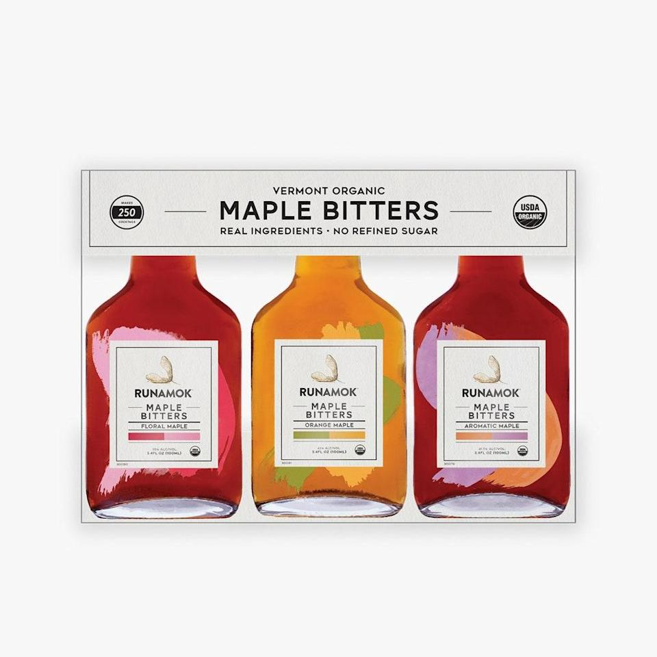 """A few drops of these maple bitters make all cocktails better. $30, Runamok Maple. <a href=""""https://runamokmaple.com/shop/product/bitters-gift-set/"""" rel=""""nofollow noopener"""" target=""""_blank"""" data-ylk=""""slk:Get it now!"""" class=""""link rapid-noclick-resp"""">Get it now!</a>"""