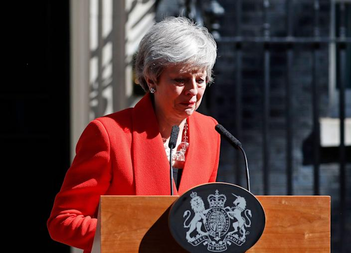 Theresa May shed a tear as she concluded her resignation speech. (AP Photo/Alastair Grant)