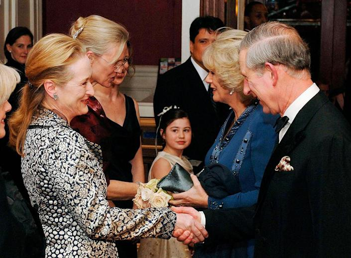 <p>In January 2007, Prince Charles and Camilla, Duchess of Cornwall, traveled to N.Y.C., where Charles received the Global Environmental Citizen Award from Harvard Medical School's Center for Health and the Global Environment. He also met national treasure Meryl Streep (left).</p>