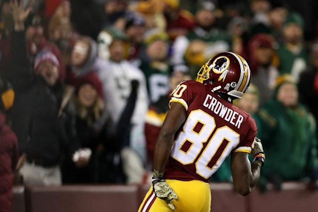 """Terrelle Pryor gets most of the buzz, but <a class=""""link rapid-noclick-resp"""" href=""""/nfl/players/28493/"""" data-ylk=""""slk:Jamison Crowder"""">Jamison Crowder</a> could end up with most of the catches. (Photo by Patrick Smith/Getty Images)"""