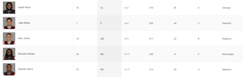 Screengrab of the Patriots' current active roster.
