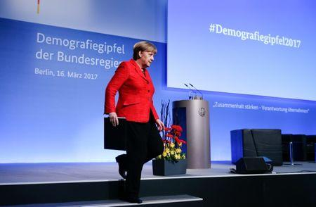 German Chancellor Angela Merkel after her speech at the demographic summit in Berlin