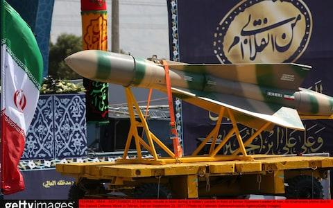 A ballistic missile on display during Sacred Defence Week in Tehran last month - Credit: Anadolu Agency