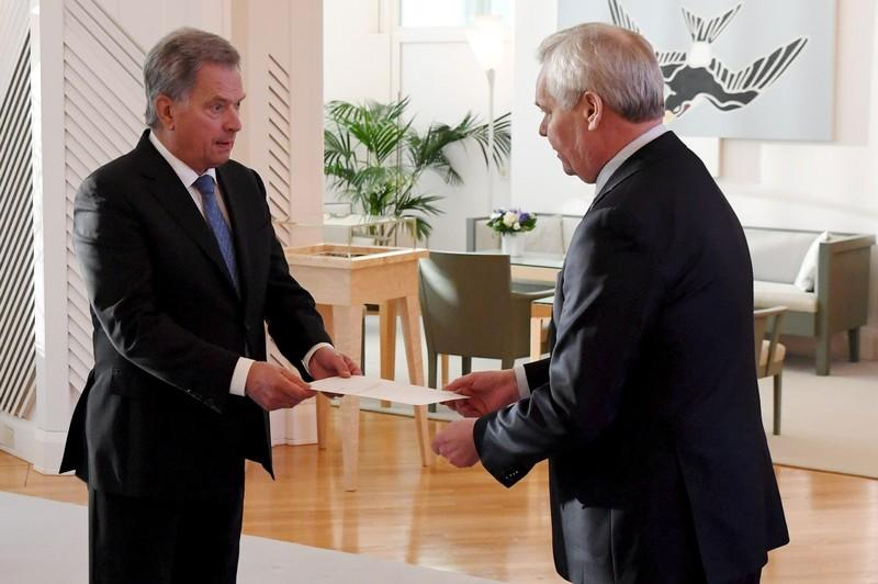 Prime Minister of Finland Antti Rinne hands his resignation to President Sauli Niinistö at the President's official residence Mäntyniemi in Helsinki