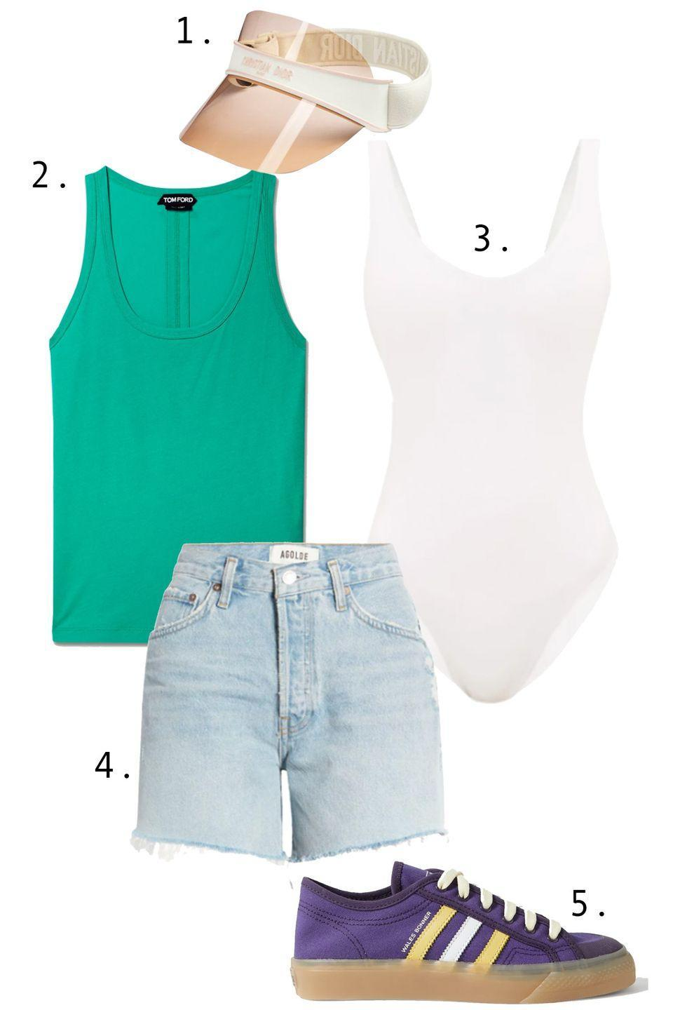 """<p>A day at the Rockaways calls for sporty functionality. Start with a simple <a href=""""https://www.townandcountrymag.com/style/a36675600/how-to-style-white-one-piece-swimsuit/"""" rel=""""nofollow noopener"""" target=""""_blank"""" data-ylk=""""slk:white maillot ("""" class=""""link rapid-noclick-resp"""">white maillot (</a>which can double as a bright white tank), layer a singlet over it, and just add a slightly longer pair of cutoffs. Finish things off with a visor and a pair of fun sneakers.</p><ol><li><a href=""""https://go.skimresources.com?id=74968X1525087&xs=1&url=https%3A%2F%2Fwww.saksfifthavenue.com%2Fproduct%2Fdior-visor-0400014153922.html%3Fdwvar_0400014153922_color%3DBEIGE"""" rel=""""nofollow noopener"""" target=""""_blank"""" data-ylk=""""slk:Dior visor"""" class=""""link rapid-noclick-resp"""">Dior visor</a> 2. <a href=""""https://go.skimresources.com?id=74968X1525087&xs=1&url=https%3A%2F%2Fwww.net-a-porter.com%2Fen-us%2Fshop%2Fproduct%2Ftom-ford%2Fclothing%2Ftanks-and-camis%2Fcotton-jersey-tank%2F11452292645938306"""" rel=""""nofollow noopener"""" target=""""_blank"""" data-ylk=""""slk:Tom Ford tank"""" class=""""link rapid-noclick-resp"""">Tom Ford tank</a> 3. <a href=""""https://go.skimresources.com?id=74968X1525087&xs=1&url=https%3A%2F%2Fwww.matchesfashion.com%2Fus%2Fproducts%2FJade-Swim-Contour-scoop-back-swimsuit-1342091"""" rel=""""nofollow noopener"""" target=""""_blank"""" data-ylk=""""slk:Jade Swim suit"""" class=""""link rapid-noclick-resp"""">Jade Swim suit</a> 4. <a href=""""https://go.skimresources.com?id=74968X1525087&xs=1&url=https%3A%2F%2Fwww.nordstrom.com%2Fs%2Fagolde-parker-distressed-organic-cotton-denim-shorts-parade-light-indigo%2F5796337%3Forigin%3Dcategory-personalizedsort%26breadcrumb%3DHome%252FWomen%252FClothing%252FShorts%26color%3D458"""" rel=""""nofollow noopener"""" target=""""_blank"""" data-ylk=""""slk:Agolde shorts"""" class=""""link rapid-noclick-resp"""">Agolde shorts</a> 5. <a href=""""https://go.skimresources.com?id=74968X1525087&xs=1&url=https%3A%2F%2Fwww.carbon38.com%2Fproduct%2Fnizza-lo-unity-purple-glaze-unity-purple-glaze-cream-white"""" rel=""""nofollow noopene"""