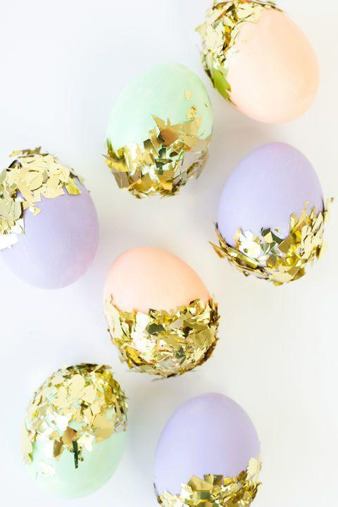 "<p>These pretty pastel eggs are made even more stunning with some glitzy gold confetti.</p><p><strong>Get the tutorial at <a href=""http://studiodiy.com/2014/03/25/diy-confetti-dipped-easter-eggs/"" rel=""nofollow noopener"" target=""_blank"" data-ylk=""slk:Studio DIY"" class=""link rapid-noclick-resp"">Studio DIY</a>.</strong></p>"