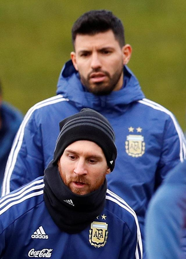 Soccer Football - Argentina Training - City Football Academy, Manchester, Britain - March 20, 2018 Argentina's Lionel Messi and Sergio Aguero during training Action Images via Reuters/Jason Cairnduff