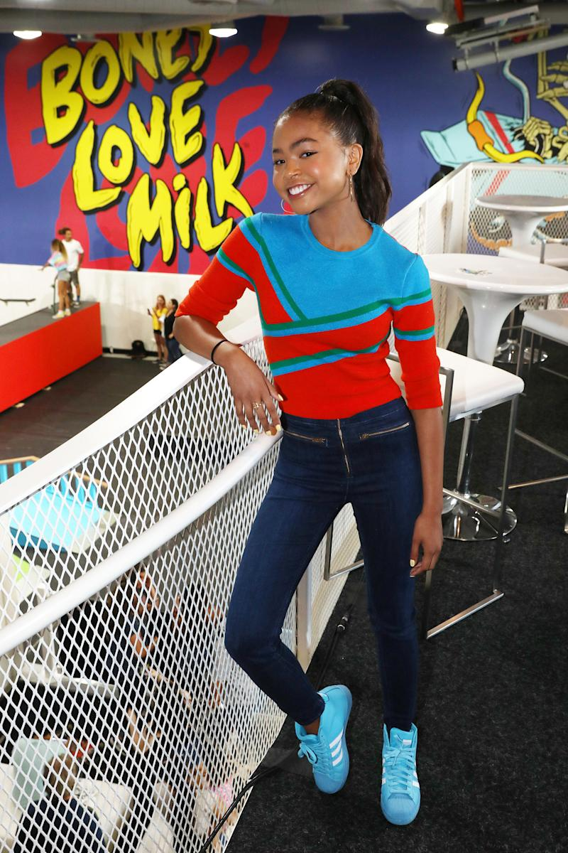 Navia Robinson partnered with the California Milk Processor Board to kick off a week-long program of skate events at The Bones Love Milk Shredquarters, an indoor pop-up skatepark experience in Huntington Beach, Calif. on Wednesday, July 24. The skatepark is part of a week-long program hosted by the California Milk Processor Board dedicated to celebrating skate and California street culture while showcasing the real benefits of milk as nature's energy drink. (Photo by Matt Sayles/Invision for CMPB/AP Images)