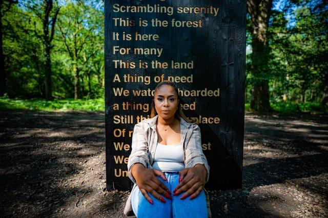 Black Lives Matter campaigner Khady Gueye has worked with poet Zakiya McKenzie to create Soil Unsoiled in the Forest of Dean (Ben Birchall/PA)