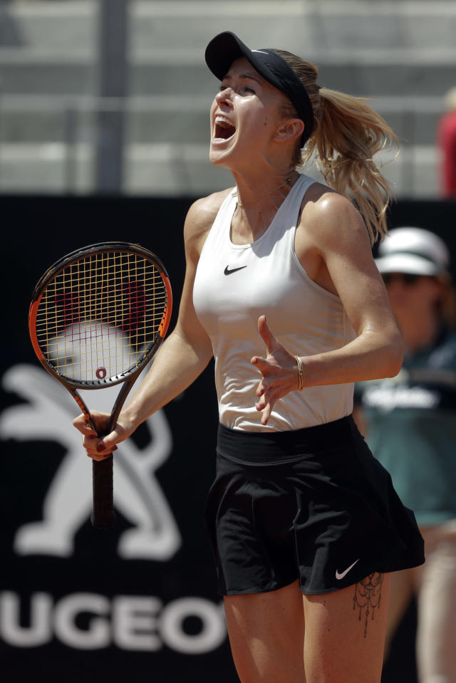 Ukraine's Elina Svitolina celebrates after winning her final match against Romania's Simona Halep at the Italian Open tennis tournament, in Rome, Sunday, May 20, 2018. Svitolina won 6-0, 6-4. (AP Photo/Gregorio Borgia)