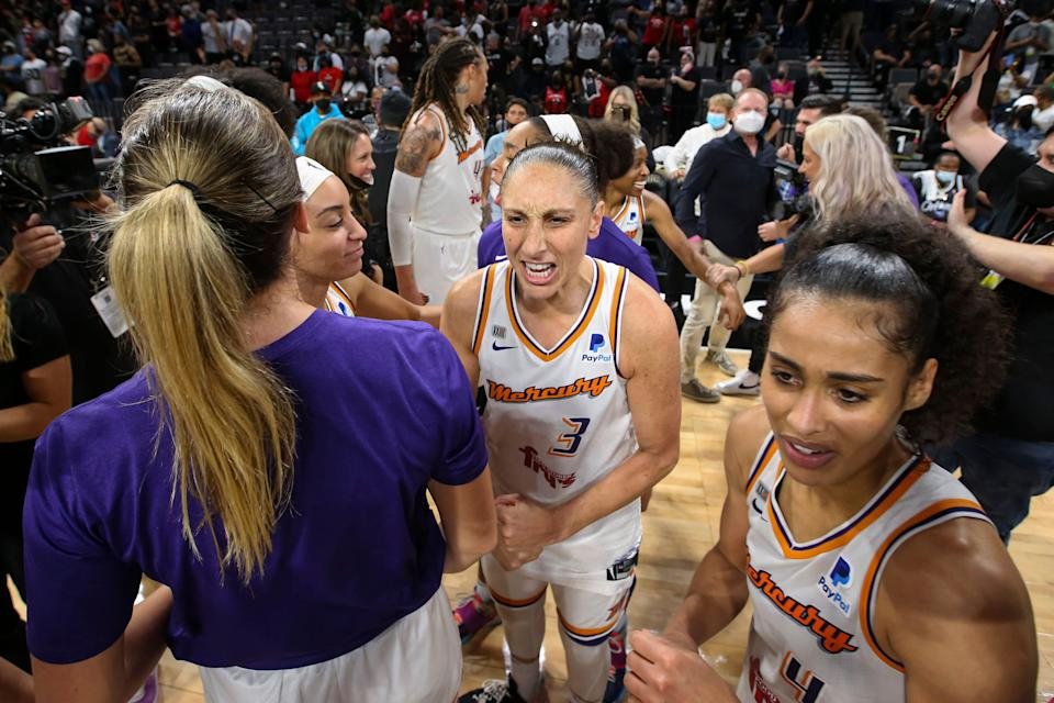 Diana Taurasi (3) and the Mercury celebrate after defeating the Aces in a decisive Game 5.