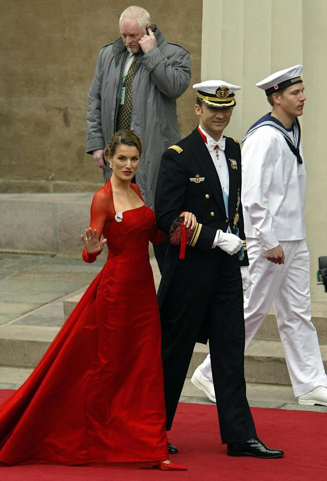 "<p>Just days before her own royal <a rel=""nofollow"" title=""Latest photos and news for wedding"" href=""https://www.popsugar.com/Wedding"">wedding</a> in 2004, Letizia attended the marriage of Crown Prince Frederik of Denmark and Mary Donaldson in Copenhagen on the arm of her then-fiancé, Felipe of Spain. This major wedding was her debut in front of European royalty, and Letizia brought the wow factor with a Caprile dress matched with heirloom rubies and diamonds that almost took Mary off the front pages.</p>"