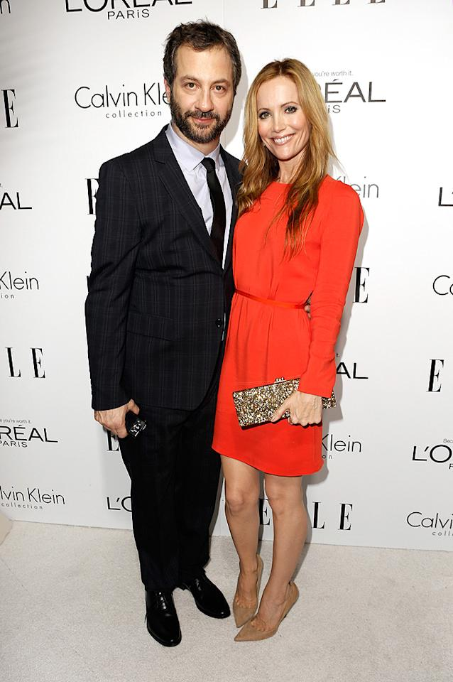 BEVERLY HILLS, CA - OCTOBER 15:  (L-R) Producer Judd Apatow and actress Leslie Mann arrive at ELLE's 19th Annual Women In Hollywood Celebration at the Four Seasons Hotel on October 15, 2012 in Beverly Hills, California.  (Photo by Jeff Vespa/WireImage)