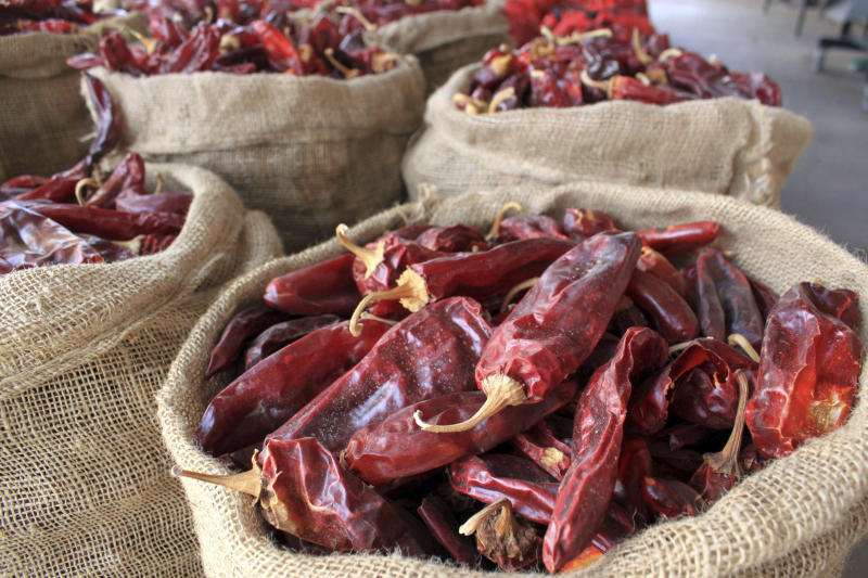 """FILE - This March 20, 2013, file photo, shows sacks of dried red chile pods at the Hatch Chile Sales shop along the main street of the self-proclaimed """"Chile Capital of the World,"""" in Hatch, N.M. The long-simmering battle between New Mexico and Colorado over which state grows the best chile is heating up. New Mexico Gov. Michelle Lujan Grisham went on the offensive Wednesday, July 10, 2019, after Colorado Gov. Jared Polis proclaimed on Twitter that hot peppers from Pueblo were the best and would be stocked in grocery stores in a four-state region. (AP Photo/Susan Montoya Bryan, File)"""