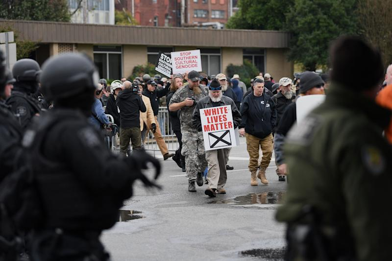 "Protesters arrive at a ""White Lives Matter"" rally in Shelbyville, Tennessee, on Saturday"