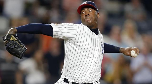 """<p>New York Yankees pitcher Aroldis Chapman has been struggling this year, and manager Joe Girardi has a theory as to why it's happening.</p><p>""""That's sometimes the cost of going a long way and deep into the playoffs, the extra wear and tear,"""" Girardi says, according to Brendan Kuty of <span>NJ.com</span>. """"Sometimes it does catch up to you the next year.""""</p><p>This season Chapman is 2-1 with a 3.92 ERA with eight saves and three blown saves in 24 games. On Friday, Chapman walked in the game-winning in the Yankees 5-4 loss in Boston. The Yankees placed <a href=""""https://www.si.com/mlb/2017/05/14/yankees-aroldis-chapman-disabled-list-shoulder"""" rel=""""nofollow noopener"""" target=""""_blank"""" data-ylk=""""slk:Chapman on the disabled list"""" class=""""link rapid-noclick-resp"""">Chapman on the disabled list</a> in May with left should rotator cuff inflammation.</p><p>In last year's postseason with the Chicago Cubs, Chapman pitched 15.2 innings, including 7.2 in five games in the World Series.</p><p>""""Personally, I don't agree with the way [Joe Maddon] used me, but he is the manager, and he has the strategy,"""" Chapman said through an interpreter in December, according to Andrew Marchand of <a href=""""http://www.espn.com/espn/now?nowId=21-0601457599619012399-4"""" rel=""""nofollow noopener"""" target=""""_blank"""" data-ylk=""""slk:ESPN"""" class=""""link rapid-noclick-resp"""">ESPN</a>.</p><p>This is the pitcher's seventh season, and he currently has the worst ERA and WHIP of his career. Last season Chapman had a 2.01 ERA and 20 saves in 31 games with the Yankees before being traded to the Cubs.</p><p>Chapman signed a record five-year, $86 million contract with New York in December. </p>"""