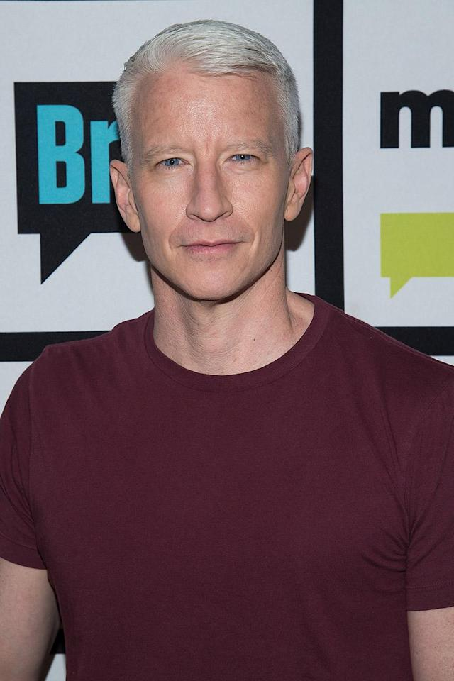 "<p>While Idris is slowly going gray, there's 50-year-old Anderson Cooper, who has been silver for as long as we remember. The newsman said he started going gray in his thirties and the next thing he knew, he was all silver. For the record, he misses his original color. ""I don't really like my gray hair,"" he said on <em>Live With Kelly</em> in 2016. ""I wish I still had brown hair. It's not my thing… If I could, I would probably color my hair, but I couldn't imagine sitting in a salon with tin foil in my hair reading old issues of <em>Rosie</em> for hours. At this point it's too late — the cow has left the barn."" (Photo: Getty Images) </p>"