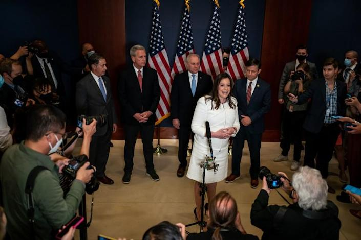 WASHINGTON, DC - MAY 14: Rep. Elise Stefanik (R-NY) speaks during a news conference after the GOP Conference Chair election on Capitol Hill on Friday, May 14, 2021 in Washington, DC. House Republicans formally selected Rep. Elise Stefanik (R-NY) Friday to replace Rep. Liz Cheney (R-WY). (Kent Nishimura / Los Angeles Times)