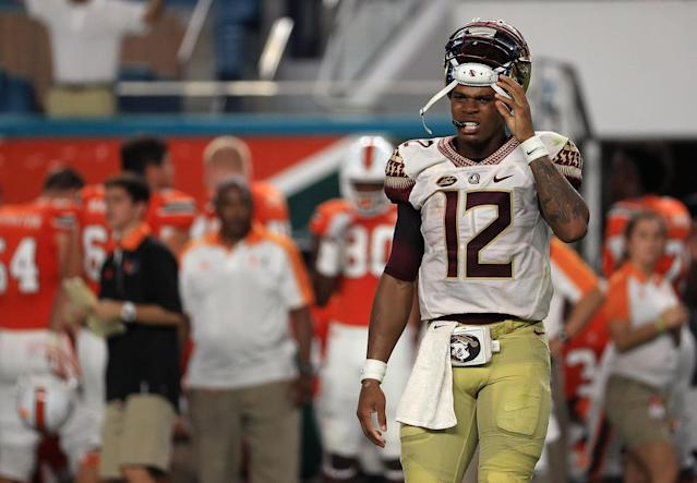 "<a class=""link rapid-noclick-resp"" href=""/ncaaf/players/256791/"" data-ylk=""slk:Deondre Francois"">Deondre Francois</a> missed all but one game in 2017 after suffering a knee injury. (Getty)"