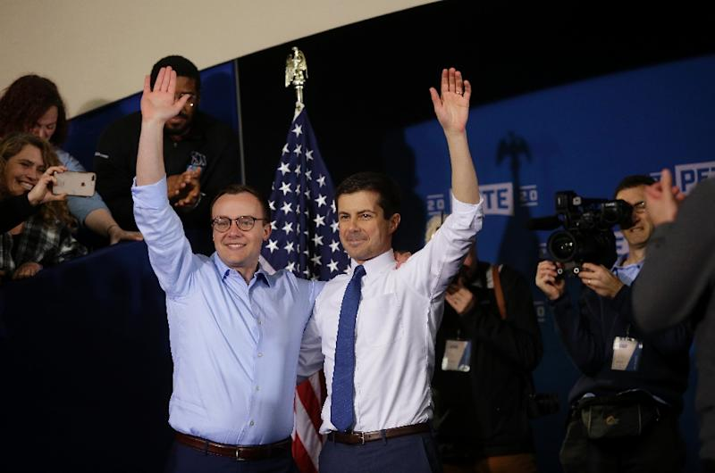 Pete Buttigieg and his husband Chasten (left) after the South Bend mayor announced his candidacy (AFP Photo/JOSHUA LOTT)