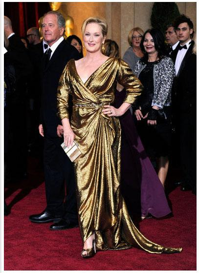 "<div class=""caption-credit""> Photo by: FabSugar</div><div class=""caption-title"">Meryl Streep</div>Meryl Streep looked gorgeous in a custom gold lamé Lanvin gown accessorized with a Lanvin chain-link belt and a Lanvin clutch. <br>"