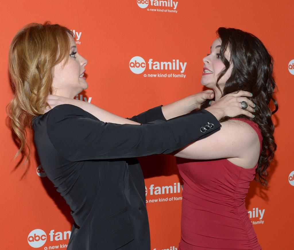 """Katie Leclerc and Vanessa Marano (""""Switched at Birth"""") arrive at ABC Family's West Coast Upfronts at The Sayers Club on May 1, 2012 in Hollywood, California."""