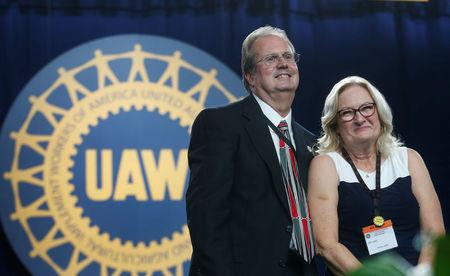 Newly elected United Auto Workers union president Gary Jones and his wife Cindy celebrate his victory during the 37th Constitutional Convention in Detroit, Michigan, U.S. June 13, 2018.  REUTERS/Rebecca Cook