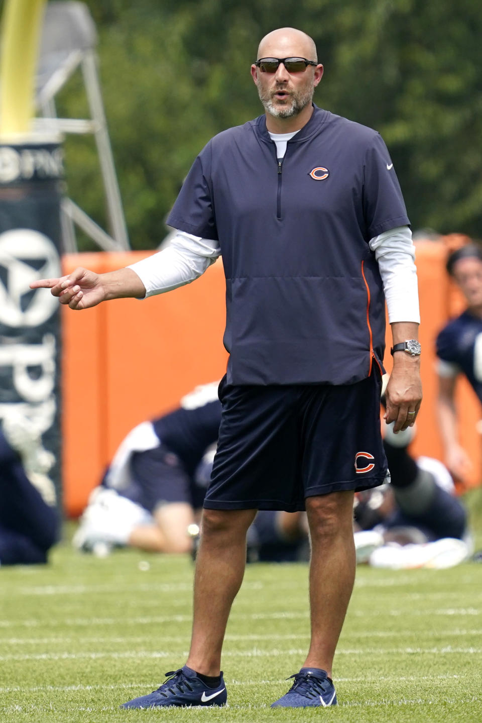Chicago Bears head coach Matt Nagy talks to his team during NFL football practice in Lake Forest, Ill., Wednesday, July 28, 2021. (AP Photo/Nam Y. Huh)