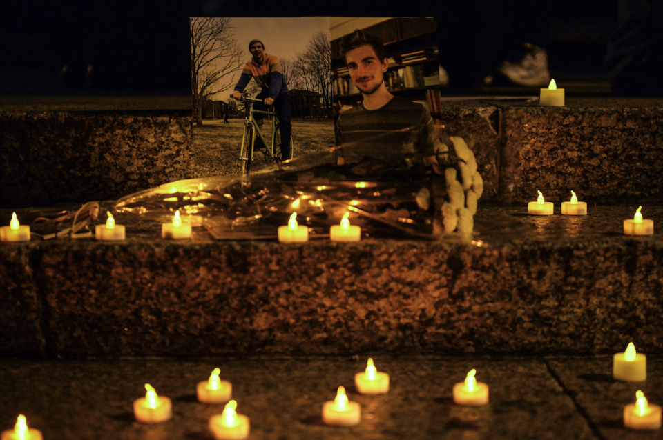 New Yorkers held a candle-lit vigil after the attack (Picture: REX)