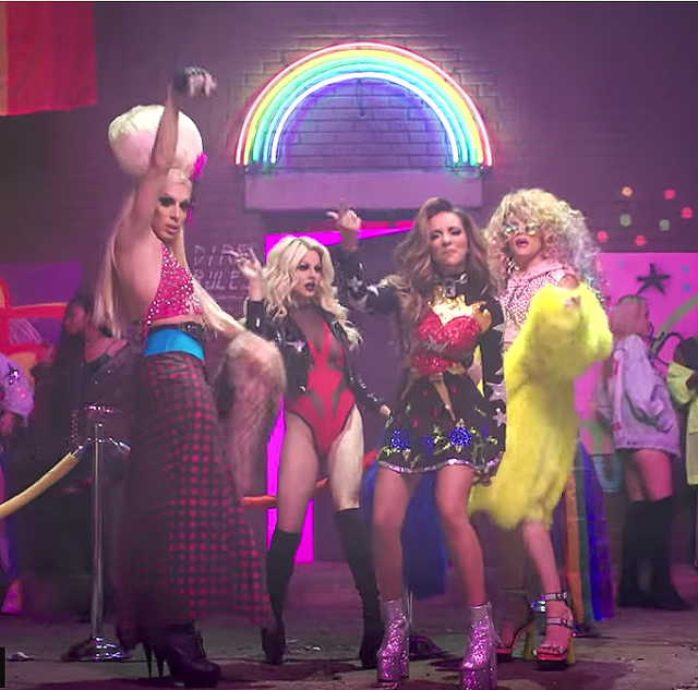"Alaska, Courtney Act, and Willam in Little Mix's ""Power"" video. (Photo: YouTube)"