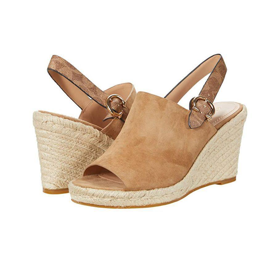 """<p><strong>Coach</strong></p><p>zappos.com</p><p><strong>$150.00</strong></p><p><a href=""""https://go.redirectingat.com?id=74968X1596630&url=https%3A%2F%2Fwww.zappos.com%2Fp%2Fcoach-poppy-wedge-brown-suede%2Fproduct%2F9499156&sref=https%3A%2F%2Fwww.prevention.com%2Fbeauty%2Fstyle%2Fg36040203%2Fcomfortable-wedge-sandals%2F"""" rel=""""nofollow noopener"""" target=""""_blank"""" data-ylk=""""slk:Shop Now"""" class=""""link rapid-noclick-resp"""">Shop Now</a></p><p>If you're a fan of Coach's soft leather handbags, you'll love these <strong>suede wedges</strong>, which feature a few of the brand's signature design details like monogram hardware and a logo-emblazoned slingback strap. With a 1-inch platform and 2 1/2-inch heel, they provide the perfect amount of arch support.</p>"""