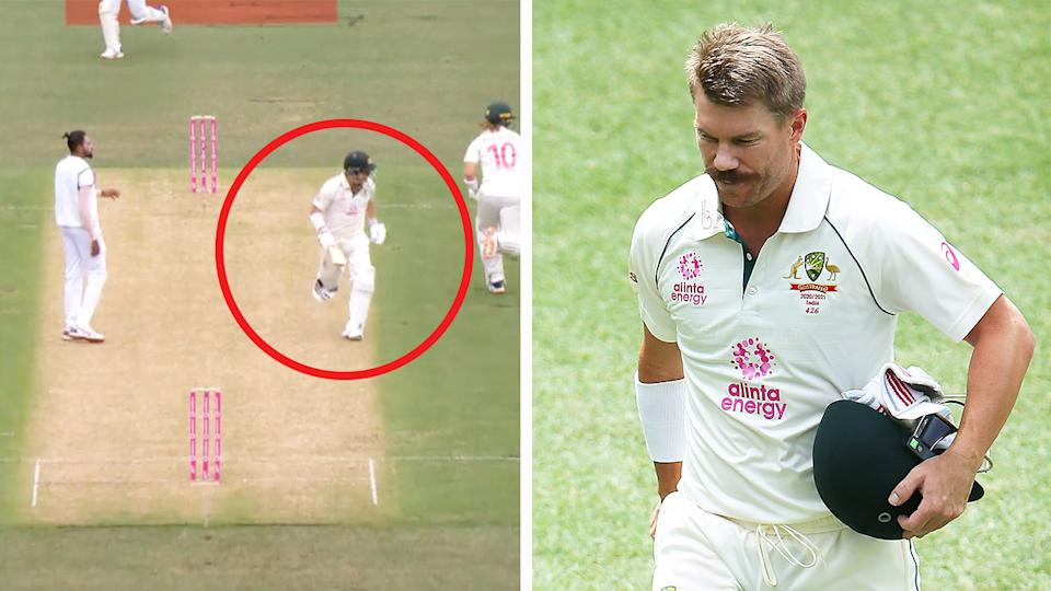 David Warner (pictured left) running between the wickets and (pictured right) walking off the field aftern his wicket.