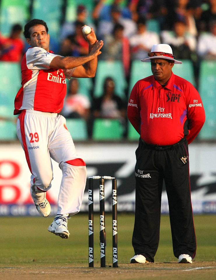 DURBAN, SOUTH AFRICA - APRIL 24: Irfan Pathan bowls during the IPL T20 match between Royal Challengers Bangalore and Kings XI Punjab at SaharaStadium on April 24, 2009 in Durban, South Africa. (Photo by Anesh Debiky/Gallo Images/Getty Images)