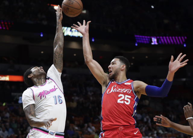 James Johnson is one of many rangy forwards the Heat can switch onto burgeoning Sixers superstar Ben Simmons. (AP)