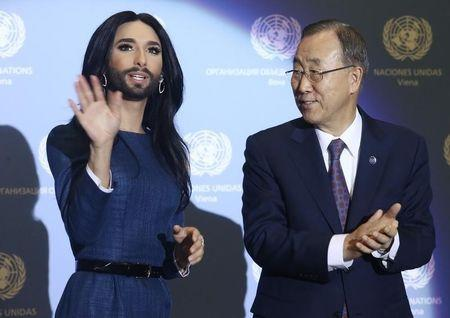 Austrian Eurovison Song Contest winner Wurst meets United Nations Secretary-General Ban at the U.N. headquarters in Vienna
